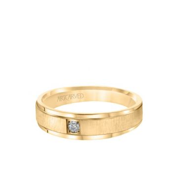 6MM Men's Classic Single Stone Diamond Wedding Band -  Vertical Brush Finish and Rolled Edge in 18k Yellow Gold
