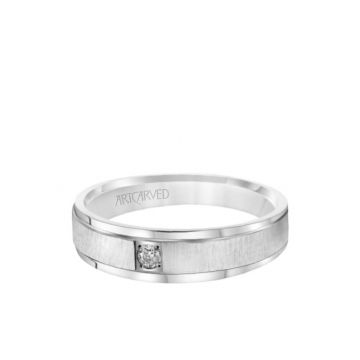 6MM Men's Classic Single Stone Diamond Wedding Band -  Vertical Brush Finish and Rolled Edge in 18k White Gold