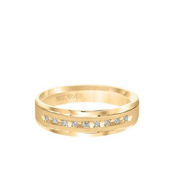 6MM Men's Classic Nine Stone Diamond Wedding Band - Vertical Brush Finish and Rolled Edge in 14k Yellow Gold