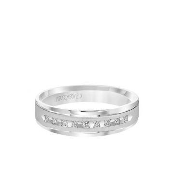 6MM Men's Classic Nine Stone Diamond Wedding Band - Vertical Brush Finish and Rolled Edge in 14k White Gold