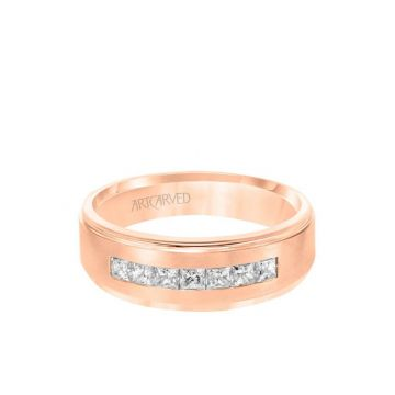 7MM Men's Contemporary Seven Stone Diamond Wedding Band - Brush Finish and Step Edge in 14k Rose Gold