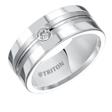 Triton Flat Tungsten Carbide Wedding Band