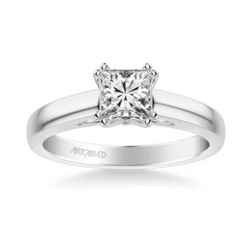 Dahlia Classic Solitaire Diamond Engagement Ring in 14k White Gold