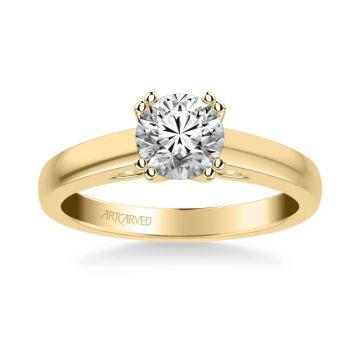 Dahlia Classic Solitaire Diamond Engagement Ring in 18k Yellow Gold