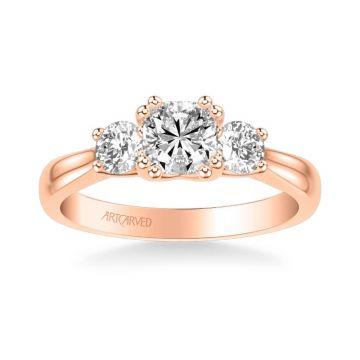 Amanda Classic Three Stone Diamond Engagement Ring in 18k Rose Gold