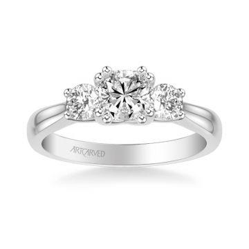 Amanda Classic Three Stone Diamond Engagement Ring in 18k White Gold
