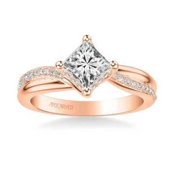 Stella Contemporary Side Stone Twist Diamond Engagement Ring in 14k Rose Gold