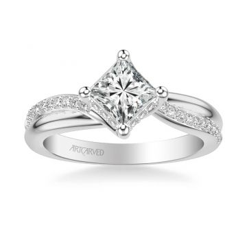 Stella Contemporary Side Stone Twist Diamond Engagement Ring in 14k White Gold