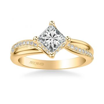 Stella Contemporary Side Stone Twist Diamond Engagement Ring in 14k Yellow Gold