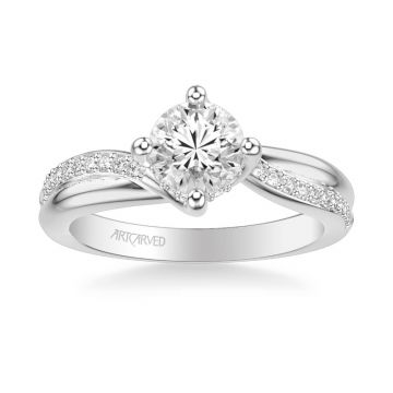 Stella Contemporary Side Stone Twist Diamond Engagement Ring in 18k White Gold