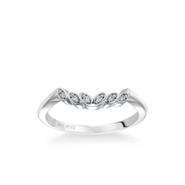Corinne Contemporary Diamond Petal and Polished Curved Wedding Band in 18k White Gold
