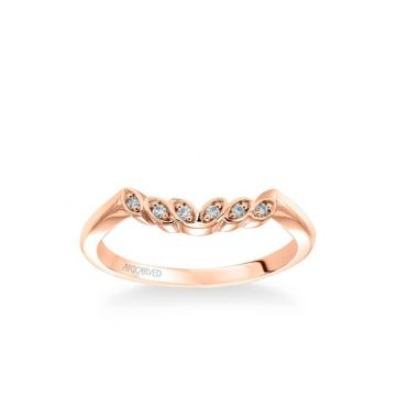 Corinne Contemporary Diamond Petal and Polished Curved Wedding Band in 14k Rose Gold
