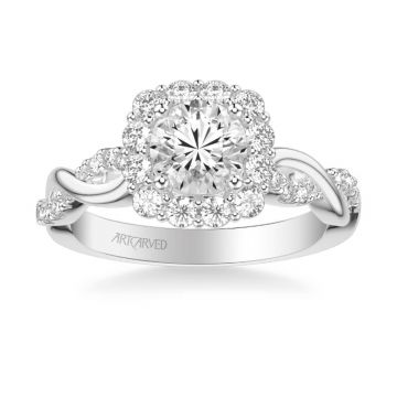 Bella Contemporary Cushion Halo Round Center Twist Diamond Engagement Ring in 18k White Gold