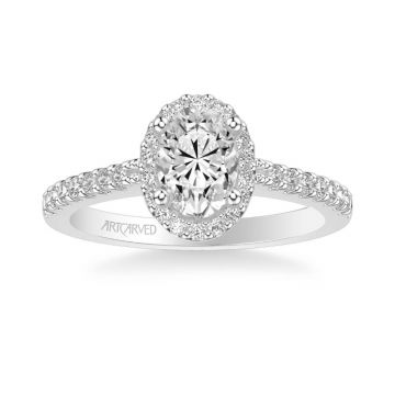 Kate Classic Oval Halo Diamond Engagement Ring in 18k White Gold