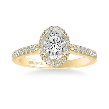 Kate Classic Oval Halo Diamond Engagement Ring in 18k Yellow Gold