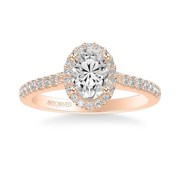 Kate Classic Oval Halo Diamond Engagement Ring in 14k Rose Gold