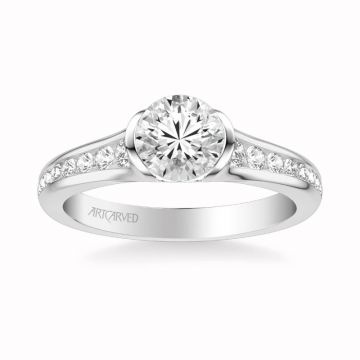 Carina Contemporary Side Stone Bezel Diamond Engagement Ring in 18k White Gold
