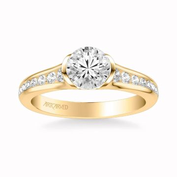 Carina Contemporary Side Stone Bezel Diamond Engagement Ring in 18k Yellow Gold