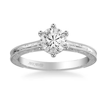 Gretchen Vintage Solitaire Diamond Engagement Ring in 18k White Gold
