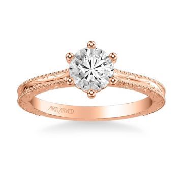 Gretchen Vintage Solitaire Diamond Engagement Ring in 14k Rose Gold