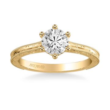 Gretchen Vintage Solitaire Diamond Engagement Ring in 14k Yellow Gold