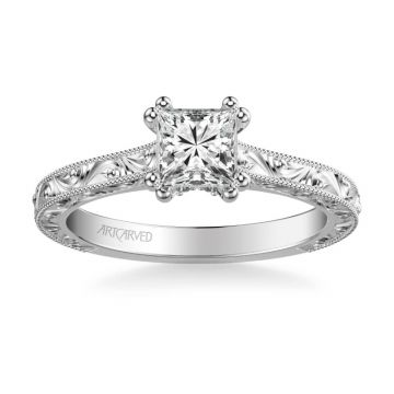 Bernadette Vintage Solitaire Engagement Ring in 18k White Gold