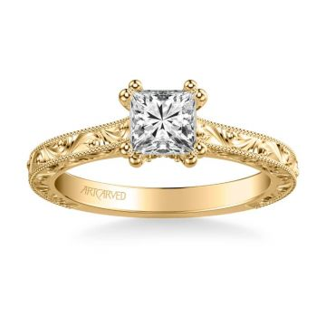 Bernadette Vintage Solitaire Engagement Ring in 18k Yellow Gold