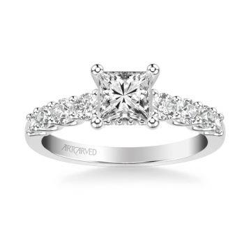 Leandra Classic Side Stone Diamond Engagement Ring in 18k White Gold