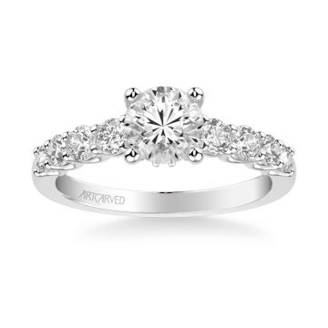 Platinum Leandra Classic Side Stone Diamond Engagement Ring