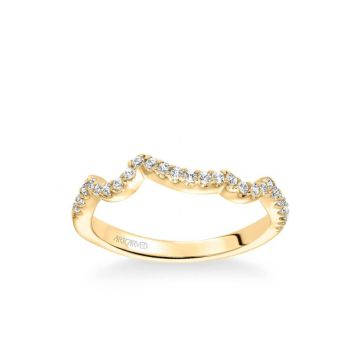 Thalia Contemporary Diamond Curved Wedding Band in 18k Yellow Gold
