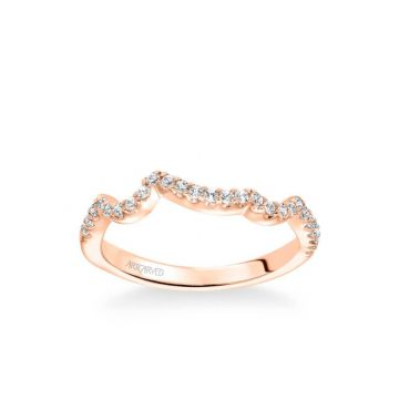 Thalia Contemporary Diamond Curved Wedding Band in 18k Rose Gold
