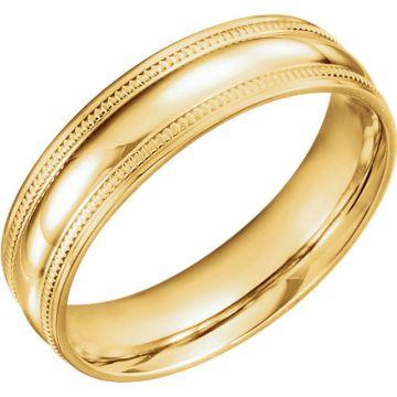 14k Yellow Gold Coin Edge Design Wedding Band