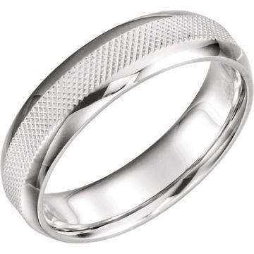 14k White Gold Knurl Design Wedding Band