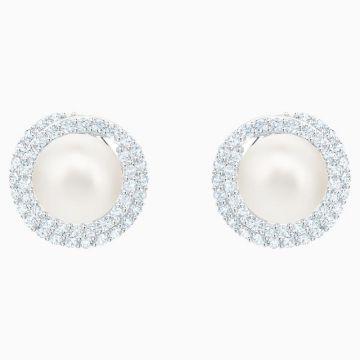 Swarovski Silver Tone Crystal Pearl Stud Earrings