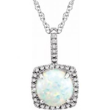 """Sterling Silver 7 mm Created Opal & .015 CTW Diamond 18"""" Necklace"""