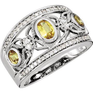 14k White Gold Yellow Sapphire and Diamond Wedding Band