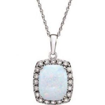 "14K White Created Opal & .05 CTW Diamond 18"" Necklace"