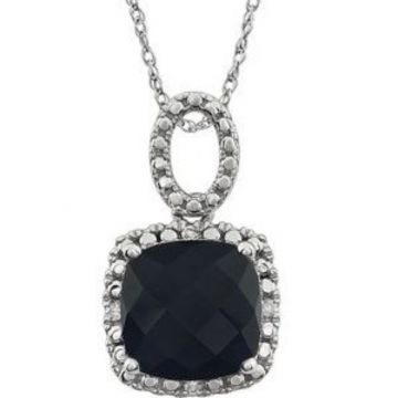 "14K White Onyx & .03 CTW Diamond 18"" Necklace"