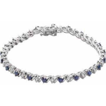 "14K White Lab-Grown Blue Sapphire & 1/10 CTW Diamond Line 7"" Bracelet"