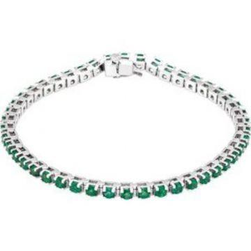"""14K White Emerald Line 7"""" Bracelet"""