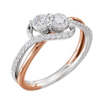 14k Two-Tone Gold Diamond Semi-mounting Engagement Ring