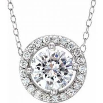 "14K White 5 mm Round Forever One™ Moissanite & .06 CTW Diamond 16-18"" Necklace"