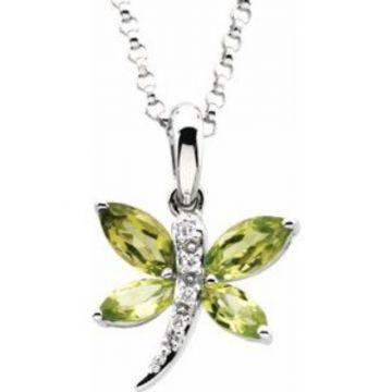 "14K White Peridot & .02 CTW Diamond 18"" Necklace"