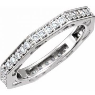 14K White 3/4 CTW Diamond Eternity Band Size 7