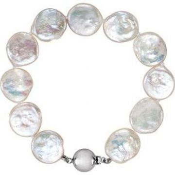 "Sterling Silver White Freshwater Cultured Coin Pearl 7.75"" Bracelet"