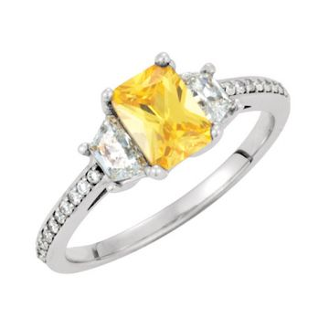 14k White Gold Three-Stone Diamond Semi-mounting Engagement Ring
