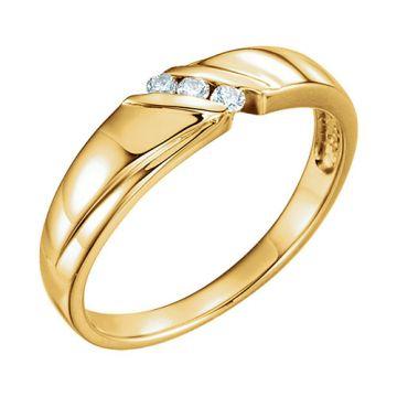 14k Yellow .08 CTW Diamond 3-Stone Men's Wedding Band