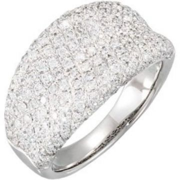 14K White 1 1/5 CTW Diamond Pave Ring