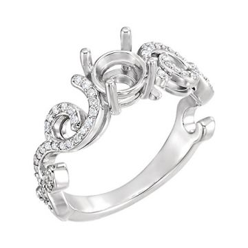 Sterling Silver Diamond Semi-mounting Engagement Ring