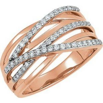 14K Rose Rhodium Plated 1/3 CTW Diamond Ring